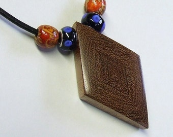 Wooden Pendant - Premium Quality - Handmade With Mexican Granadillo Wood - Artisan Wooden Jewelry - Comes with Leather Necklace