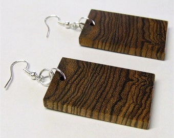 Wooden Earrings - Premium Quality - Handmade with Exotic Mexican Bocote Wood - Artisan wooden Jewelry - No Stock Photos
