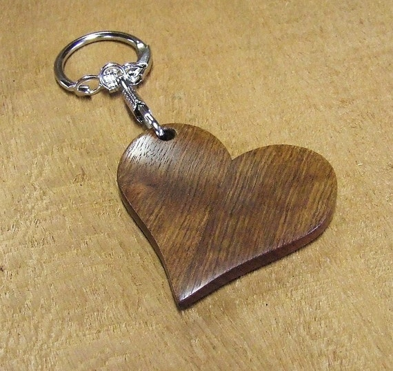 Wooden Heart Shaped Key Chain Handmade with Exotic Caribbean Rosewood