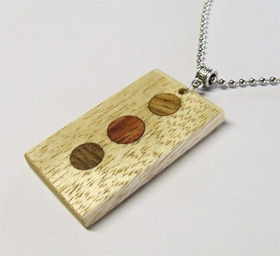 Wooden Pendant - Premium Quality - Handmade with Exotic African Avodire Wood with Walnut & Bubinga Dot Inlays - Comes with Steel Ball Chain