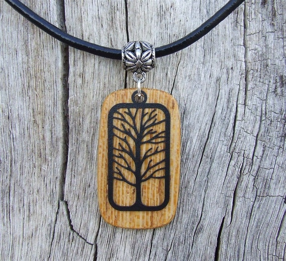 Exotic African Lati Necklace Handcrafted Wood Pendant with Black Tree
