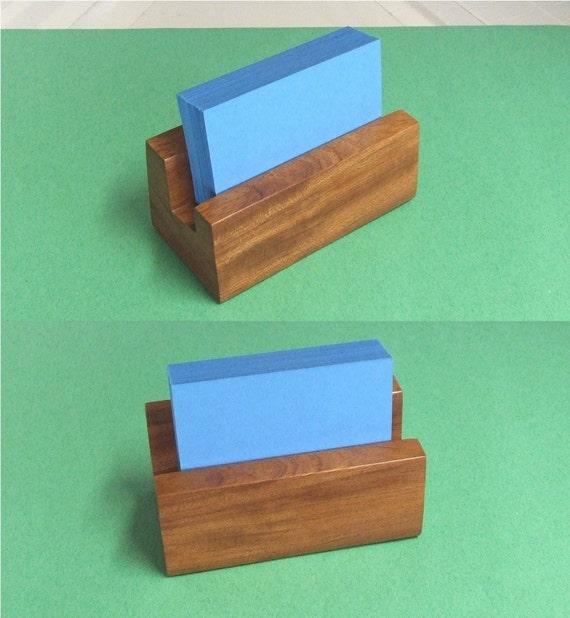 Custom Wood Business Card Holder - Handmade Exotic African Bubinga Premium Holder
