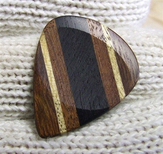 Custom Wood Guitar Pick - Handmade Exotic Gabon Ebony - Santos Mahogany - Avodire and Chechen Premium Guitar Pick