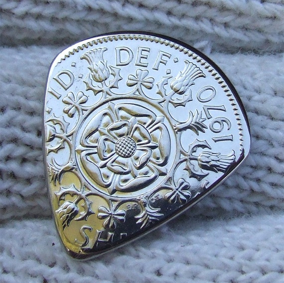 Custom Coin Guitar Pick - Handmade with a Vintage 1970 British 2 Shillings Proof Coin