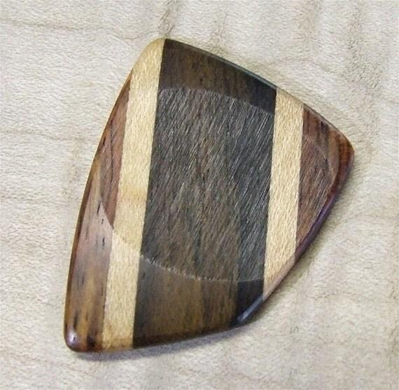 Custom Wood Guitar Pick - Handmade  Exotic Yucatan Ziricote - Honduran Rosewood and Hard Maple Premium Guitar Pick