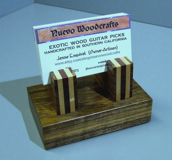 Wood Business Card Holder - Handmade Exotic Woods Premium Card Holder