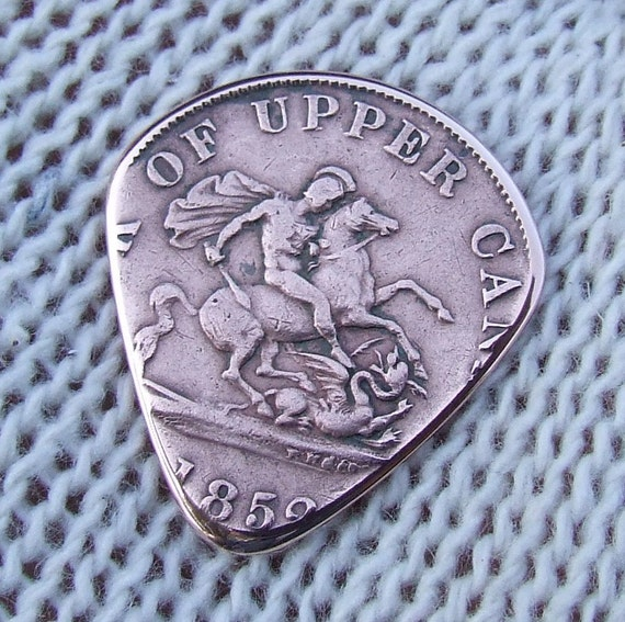 Custom Coin Guitar Pick - Handmade with an Antique 1852 Dragonslayer Canadian Half Penny