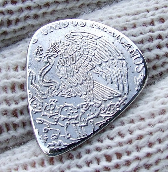 Handmade Coin Guitar Pick - Custom Coin Pick made with a nice 1972 - Mexican 5 Pesos Coin