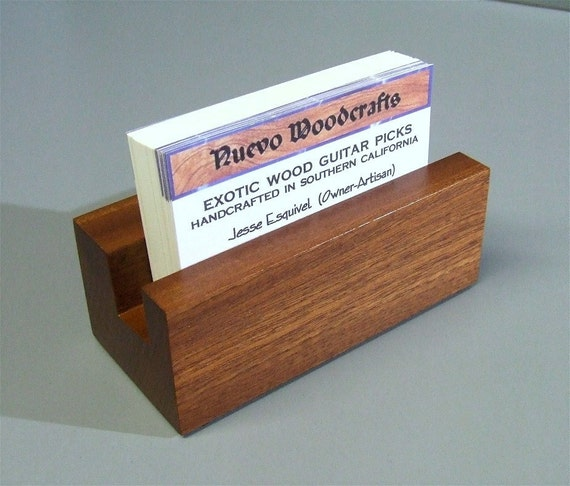 Exotic Wood Business Card Holder Handmade by NuevoWoodcrafts