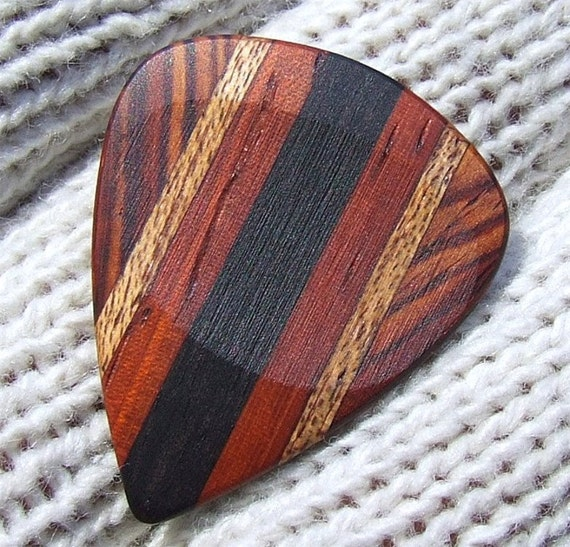 Custom Wood Guitar Pick - Handmade Exotic Gabon Ebony - Padauk - Genuine Mahogany and Cocobolo Premium Guitar Pick