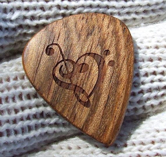 Wood Guitar Pick - Handmade Custom Engraved Exotic Wood Guitar Pick - Jatoba