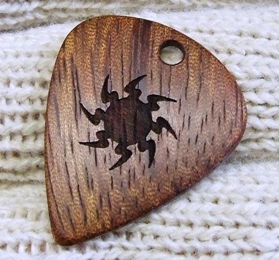 Custom Wood Guitar Pick - Handmade Exotic African Bubinga Premium Guitar Pick