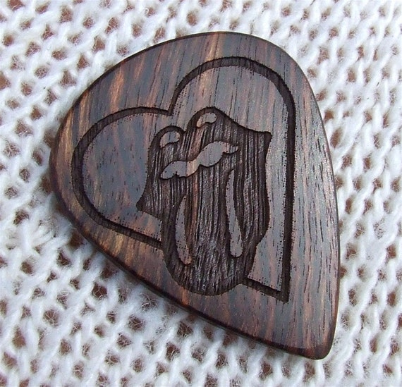 Tribute to The Rolling Stones Custom Wood Guitar Pick - Handmade Exotic Caribbean Rosewood