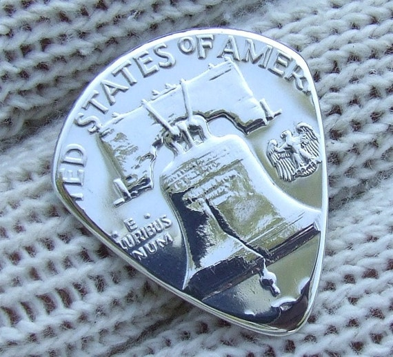 Premium Coin Guitar Pick - Handmade with a Vintage 1962- Franklin Silver Half Dollar Proof