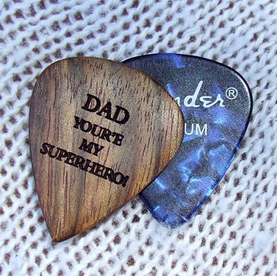 Dual Design Superman Dad - Exotic Caribbean Rosewood Laser Engraved Premium Guitar Pick