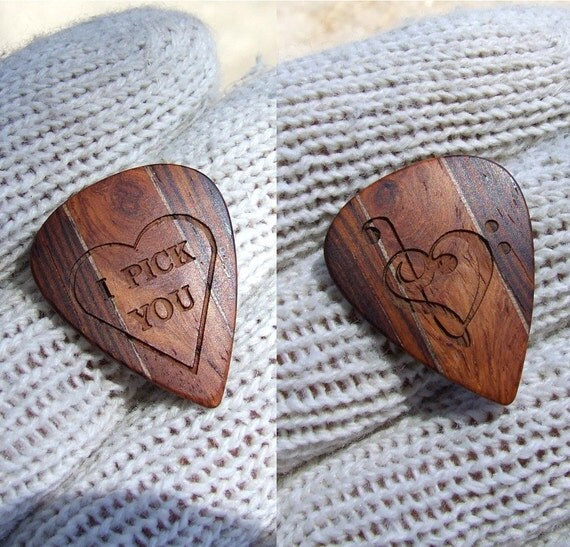 Handmade Custom Engraved Exotic Wood Guitar Pick - Dual Design -  Premium Guitar Pick