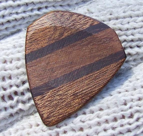 Custom Wood Guitar Pick - Handmade Exotic Sapele - Santos Mahogany and Brazilian Ebony Premium Guitar Pick