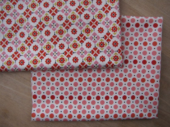 Denyse Schmidt for DS Quilts, Pink/Red Dots, Pink/Red Tiles, FQ Set