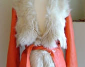Reserved for Pennylove SALE Ultra Supple Soft Butter Red Leather Jacket with Stunning Fur Trim