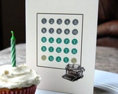 5 Birthday Cards Set - Vintage Typewriter Keys - number one through ten
