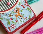 Christmas Stocking stuffer - reindeer - 2 Refillable Sticky Note Pad Wallets with Pen