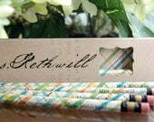 PERSONALIZED Pencils Set - Customized Name or Greeting and Pattern - 6 in a box