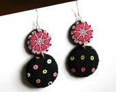 Retro style double round earrings - small polka dots and tiny flowers - sterling silver