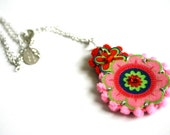 Necklace with colorful textile - hand stitched - Pop Flower