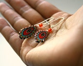 Small colorful feathers - retro style textile earrings - made to order