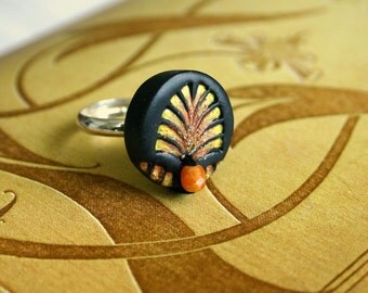 Art Deco ring - handmade and hand painted - Enchanted acrylics