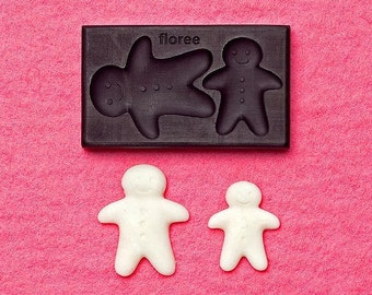 Miniature large gingerbread man mold. Floree miniature food mould. For miniature biscuits, cookies and charms.