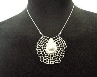 Sterling silver net with a drop necklace, Ernst Haeckel jewelry