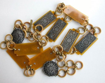 Art Deco Celluloid and Metal Belt