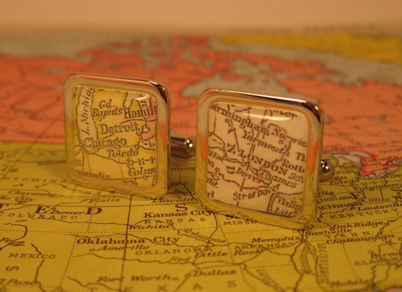 Vintage Map Cufflinks. You select the journey. GIFT BOX INCLUDED