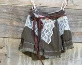 funky eco Chocolate Brown Tattered Woodland  Mini Wrap Skirt
