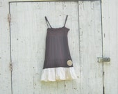 mori girl inspired Funky Tattered Ranch Style Plum Wine Eco Ruffled Mini Dress