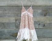 romantic Funky Eco Tattered Roses Fairy Woodland Mini Dress