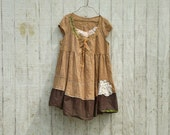 RESERVED for Nux - oversized coffee and cream - mori girl inspired Funky Tattered Baby Doll Creme Brulee  Eco Mini Dress