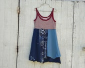 Patriotic / 4th of July / Funky Babydoll Tunic / Dress / Eco Dress / Tattered Artsy Dress / Upcycled Clothing