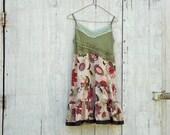 Funky olive green Babydoll Tank Dress / Eco Dress / Tattered Artsy Dress / Upcycled Clothing