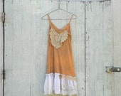 COUPON code SaLE Funky Slip Dress / Eco Vintage Dress / Tattered Artsy Slip Dress