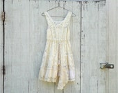 romantic lace dress / Funky Lace Dress / Eco Vintage Dress / Tattered Artsy Wedding Dress