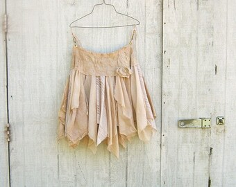 made to order Funky Eco Fairy Pixie Mini Skirt - upcyled clothing / beach clothing / wedding dress