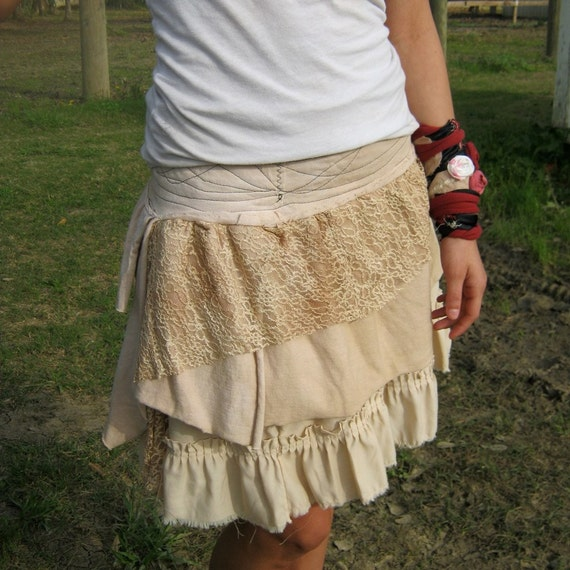 RESERVED for Ayelet - Mori Girls Inspired Funky Eco Tattered Fairy Pixie Mini Skirt