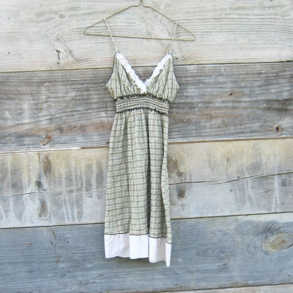 Sweet Eco Tattered Plaid Mini Dress