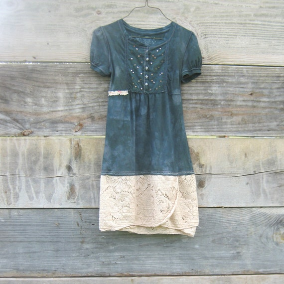 Funky Little Creme Brulee Lace and Green Eco Mini Dress