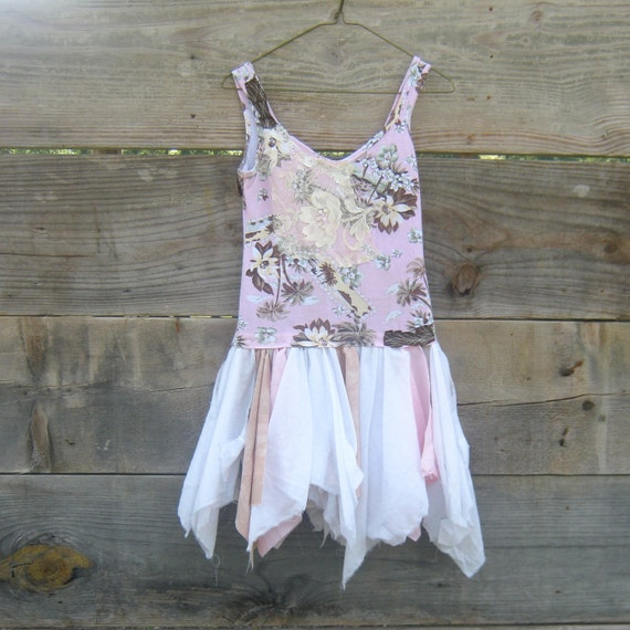 20% off plus CYBER Monday Sale - Coupon Code - - romantic Funky Eco Tattered Pink Fairy Woodland Mini Dress