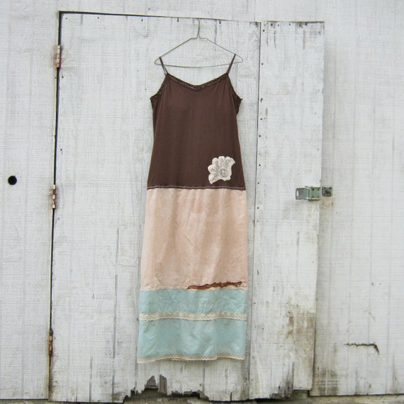 romantic Funky Tattered Robins Egg Blue and Brown Cottage Ranch Style Eco Long Halter Maxi Dress