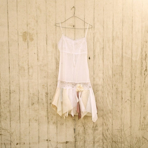 romantic Funky Eco Earthy White Mini Woodland Pixie Fairy Dress