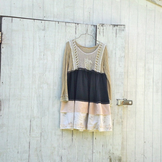RESERVED - Funky Babydoll Dress / Eco Dress / Tattered Artsy Dress / Upcycled Clothing by CreoleSha